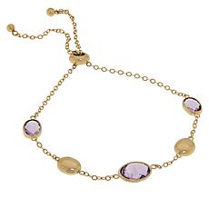 Sevilla Silver™ Gold-Plated Pink Amethyst Adjustable Bracelet
