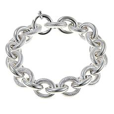"Sevilla Silver™ Textured and High-Polished Link 8"" Bracelet"