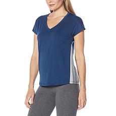 Shadow Sport Side Stripe Heathered Cap-Sleeve Tee