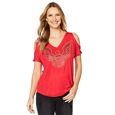 Sheryl Crow Cold-Shoulder Studded Tee