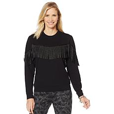 Sheryl Crow Embellished Fringe Sweater