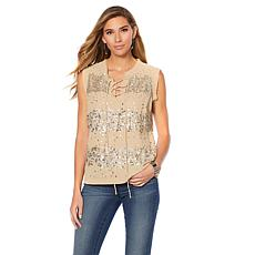 Sheryl Crow Embellished Tie-Neck Blouse