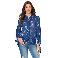 Sheryl Crow Floral-Print Button-Down Blouse