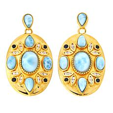 Sheryl Jones Larimar, Zircon and Black Spinel Earrings