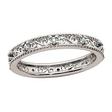 Simply Stacks™ Sterling Silver Birthstone Filigree Stack Ring
