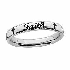 Simply Stacks™ Sterling Silver Faith Band Ring