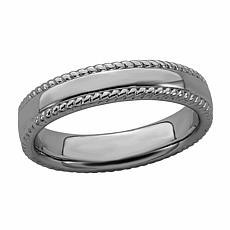 Simply Stacks™ Sterling Silver Stackable Ribbed Edge Band Ring