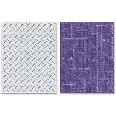 Sizzix Tim Holtz Embossing Folders 2pk - Diamond/Metal
