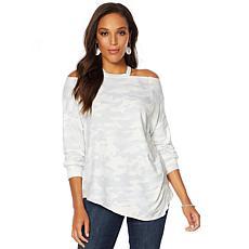 Skinnygirl Camo-Print Cut-Out Neckline Sweatshirt
