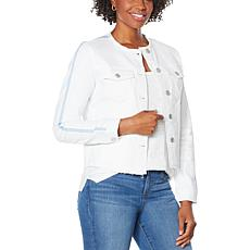 Skinnygirl Collarless Fray Denim Jacket with Stripe