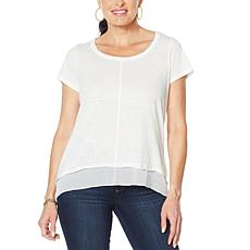 Skinnygirl Exhibit Mixed Media Hi-Low Hem Tee