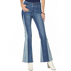 Skinnygirl High Rise Colorblocked Flare Jean