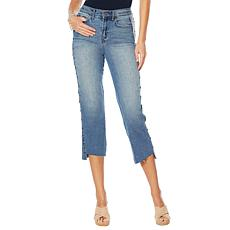 Skinnygirl High-Rise Straight Cropped Studded Jean