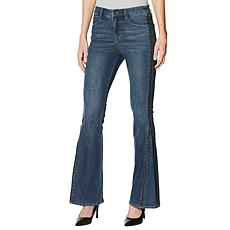 Skinnygirl Power Moves High-Rise Side Zip Flare Jean