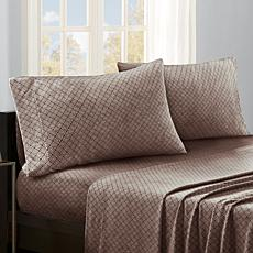Sleep Philosophy Micro Fleece Sheet Set - Brown Diamond - Full