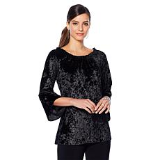 Slinky Brand 2-piece Crushed Velvet Tunic and Basic Black Pant