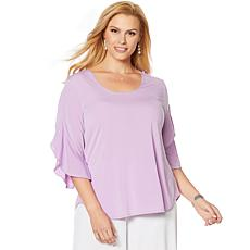 Slinky® Brand 2pk Tulip-Sleeve Tunics with Ruffle Trim