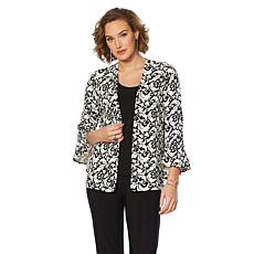 Slinky® Brand 3/4 Bell-Sleeve Printed Textured Knit Jacket