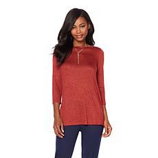 Slinky® Brand 3/4 Melange-Sleeve Knit Top