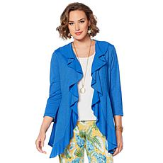 Slinky® Brand 3/4-Sleeve Cascading Ruffle Jacket