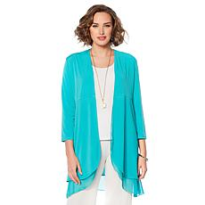 Slinky® Brand 3/4-Sleeve Drama Knit Duster with Chiffon