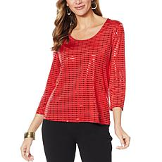 Slinky® Brand 3/4-Sleeve Embellished Knit Scoop-Neck Tee