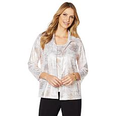 Slinky® Brand 3/4-Sleeve Foil Print Jacket