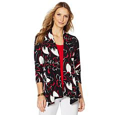 Slinky® Brand 3/4- Sleeve Printed Peplum Sweater Jacket