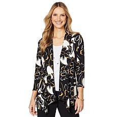 Slinky® Brand 3/4- Sleeve Printed Peplum Sweater Jacket