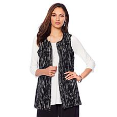 Slinky® Brand Collarless Textured Printed Vest