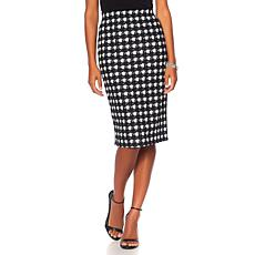 Slinky® Brand Houndstooth Print Textured Pencil Skirt
