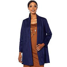 Slinky Brand Long-Sleeve Collared Faux Suede Duster