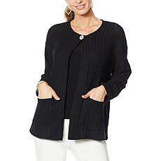 Slinky Brand Long-Sleeve Sweater Jacket with Pockets