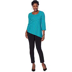 Slinky® Brand Mixed Striped Tunic and Solid Pant Set