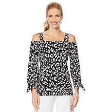 Slinky® Brand Off-Shoulder Tie-Sleeve Printed Tunic