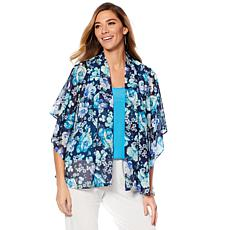 Slinky® Brand Printed Chiffon Butterfly-Sleeve Jacket