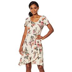 Slinky® Brand Printed Faux Wrap Ruffle Hem Dress