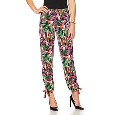 Slinky® Brand Printed Knit Harem Pant with Ankle Tie