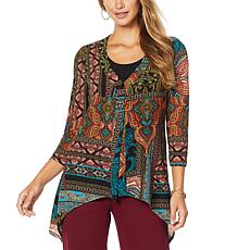 Slinky® Brand Printed Sweater Knit Jacket with Sharkbite Hem