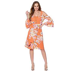 Slinky® Brand Printed Textured Double Flounce Sleeve Dress
