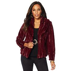 Slinky Brand Shawl-Collar Faux Fur Jacket