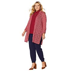 Slinky® Brand Sheer Sweater Knit Duster with Ruched Sleeves
