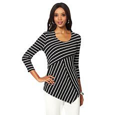 Slinky® Brand Striped Handkerchief-Hem Tunic