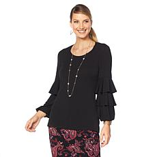 Slinky® Brand Tiered Blouson-Sleeve Scoop Neck Tunic