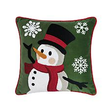 Snowman Dance Chain Stitch Pillow