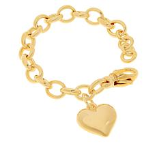 Soave Oro 14K Gold Electroform Oval Chain Heart Bracelet