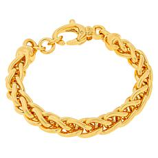 Soave Oro 14K Gold Electroform Polished Wheat Chain Bracelet