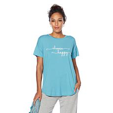 Soft & Cozy Cool Luxe Knit Message and Solid Tee 2-pack