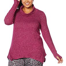 Soft & Cozy Cowl-Neck Tunic with Handkerchief Hem