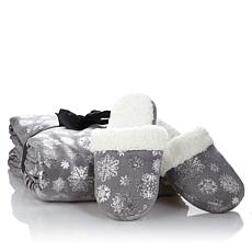 Soft & Cozy Foil Snowflake Throw and Slippers Set